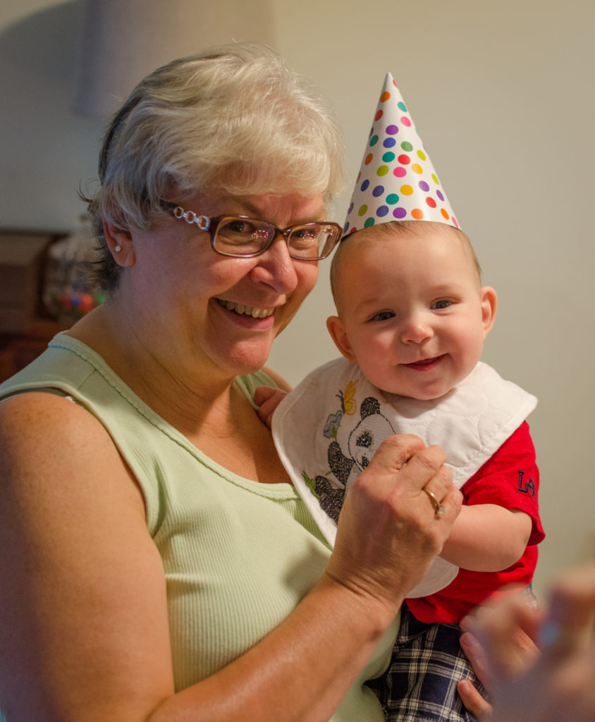 grandma and fletcher celebrating grandma's birthday